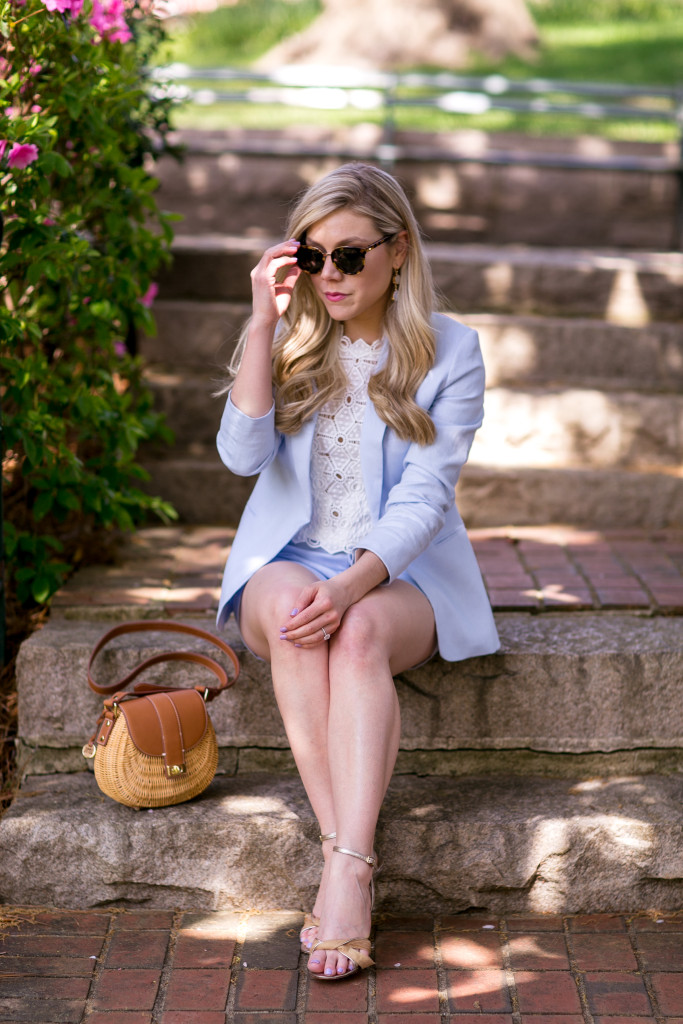 Charlotte Lifestyle and Fashion Blogger, Taylor-Rae Harrold with Style Souffle wearing Joie Suit with Rebecca Taylor Crop Top, Nordstrom Shoes and Neiman Marcus Earrings.