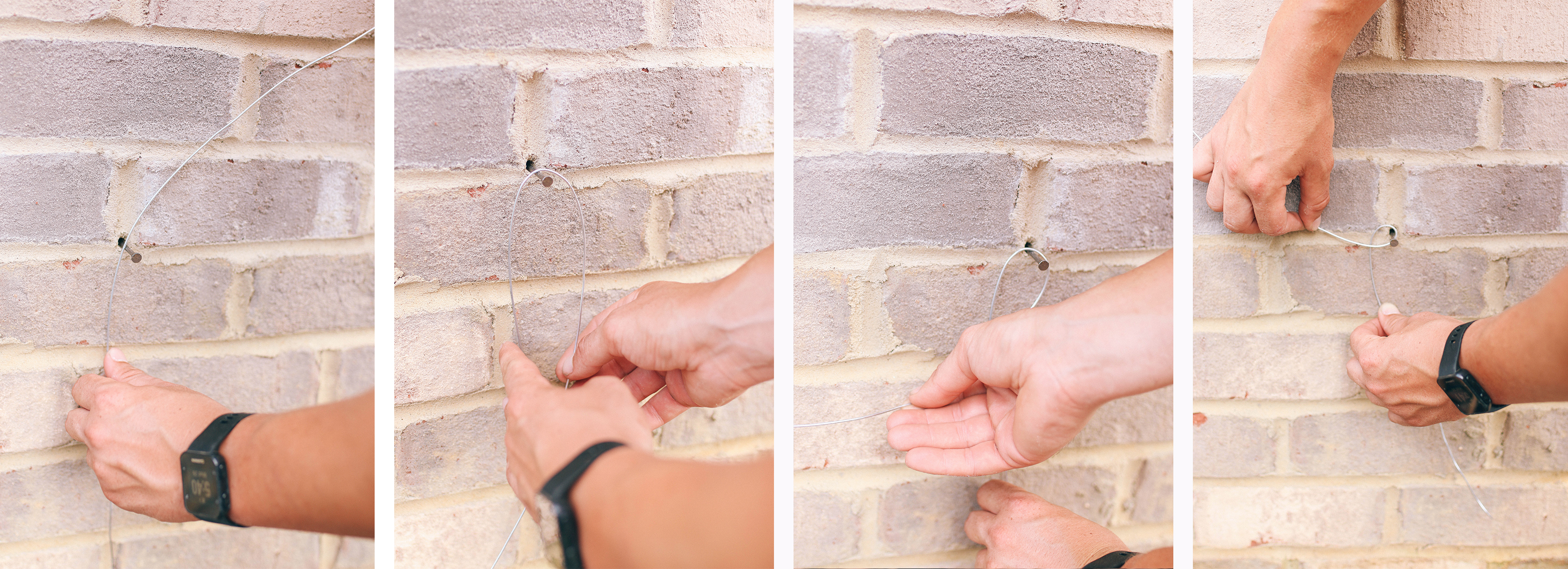 Step By Guide To Building A Garden Trellis Style Souffle Wiring In Brick Wall Taking The Spool Of Wire Pull It Tightly And Extend Nail Number 2 Wrap Several Times Around Clockwise Direction